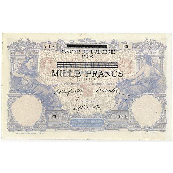 Banque de l'Algerie. 1892 Issue Banknote.