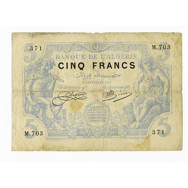 Banque de l'Algerie. 1915 Issue Banknote.