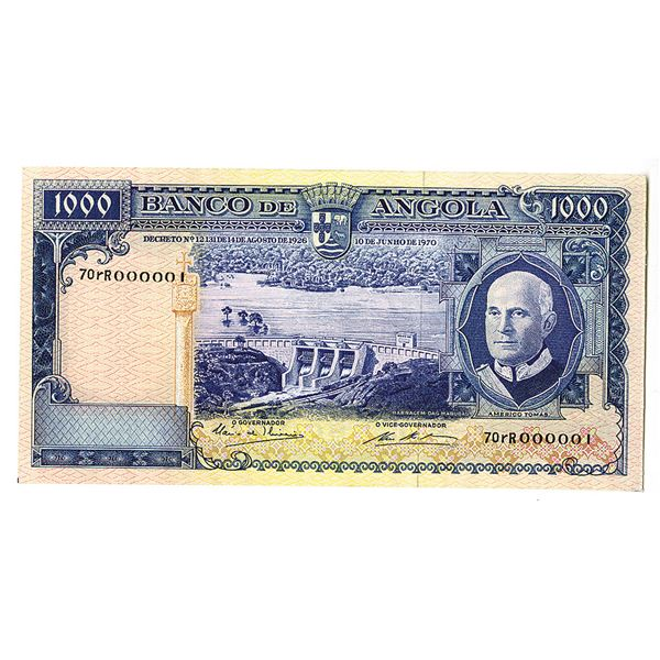 "Banco de Angola. 1970 Issued ""Serial Number 1"", Banknote."