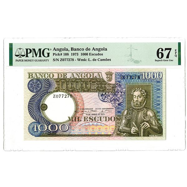 "Banco de Angola. 1973. ""Top Pop"" Issued Note."