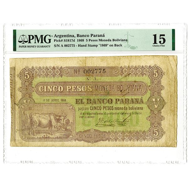 Banco Paranˆ. 1868 Issue Banknote.