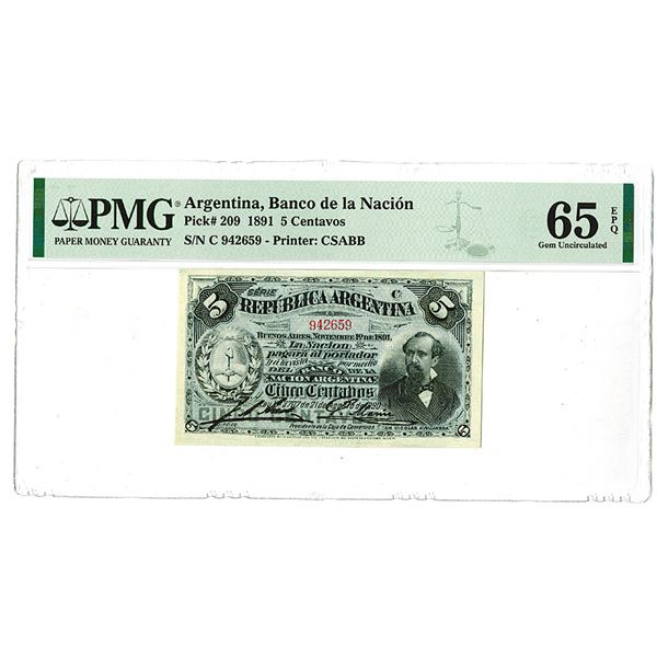 "Banco de la Naci""n. 1891 Issue Banknote."