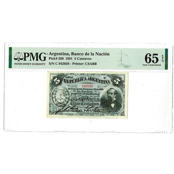 """Banco de la Naci""""n. 1891 Issue Banknote."""