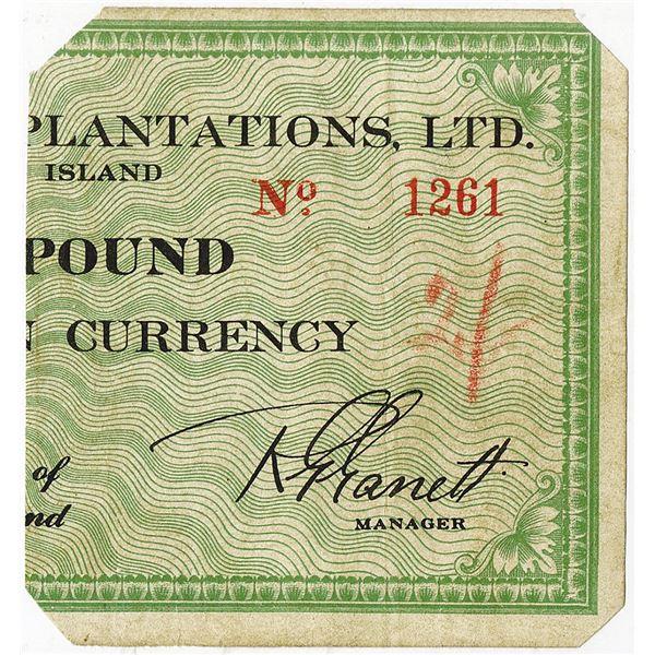 Fanning Island Plantations, Ltd.. ca. 1944-1945 Issue Banknote.