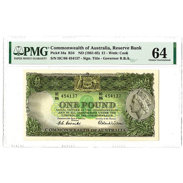Reserve Bank of Australia. ND (1961-1965). One of 2 Sequential High Grade Issued Notes to be offered