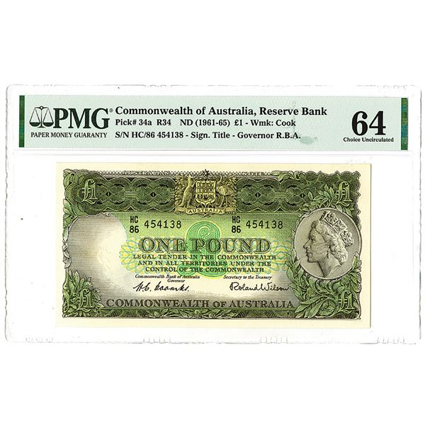 Reserve Bank of Australia. ND (1961-1965). The Second of 2 Sequential High Grade Issued Notes.