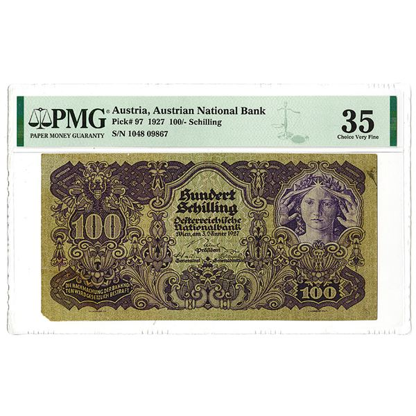 Austrian National Bank. 1927 Issue Banknote.