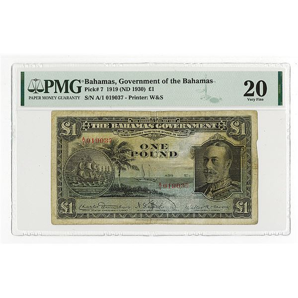 Government of the Bahamas, 1919 (ND 1935) Issue Banknote.