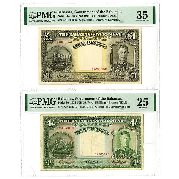 Bahamas Government. 1936 (ND 1947). Lot of 2 Issued Notes.