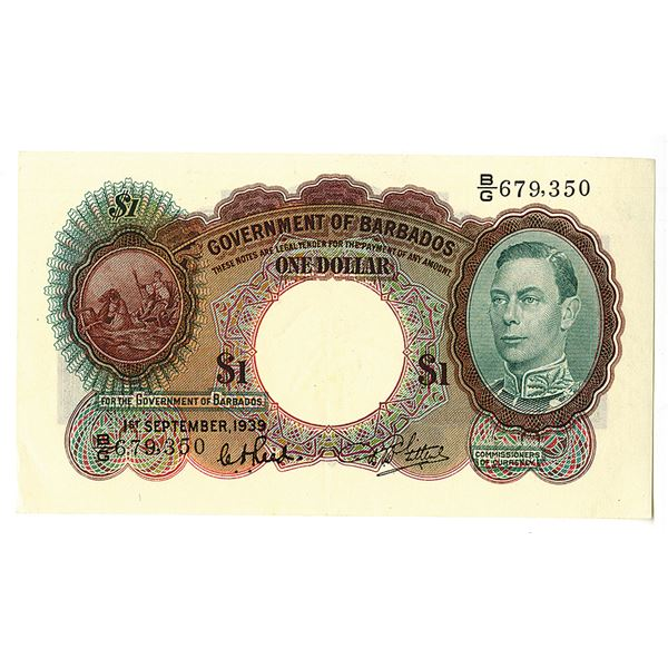 Government of Barbados, British Administration. 1939 Issue Banknote.