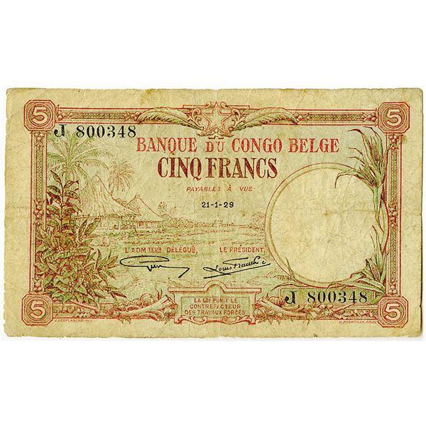 Banque du Congo Belge. 1929 Issue Banknote.