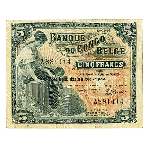 Banque du Congo Belge. 1944. Issued Note.