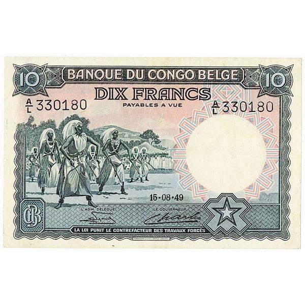 Banque du Congo Belge. 1949 Issue Banknote.