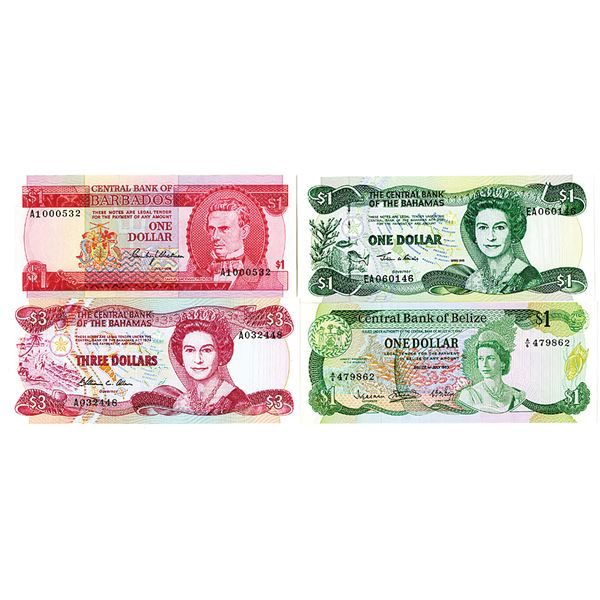 Quartet of Caribbean Issued Banknotes, 1974-2001
