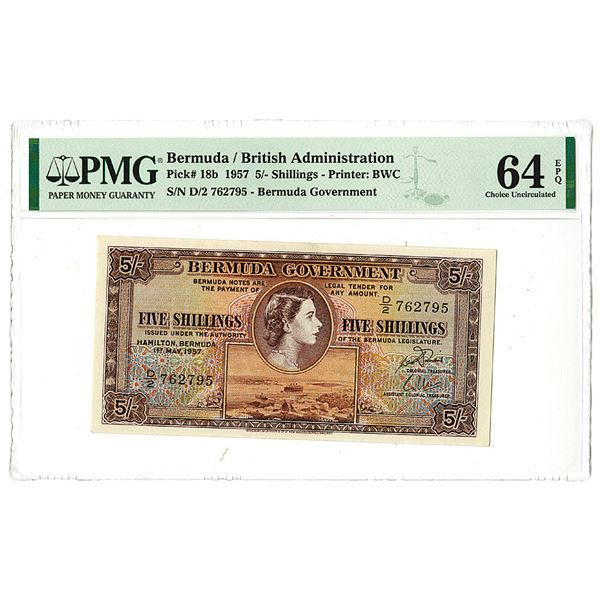 Bermuda Government. 1957 Issue Banknote.