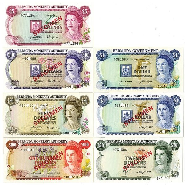 Bermuda Monetary Authority & Government. 1970-1982. Lot of 7 Specimen and Issued Notes.