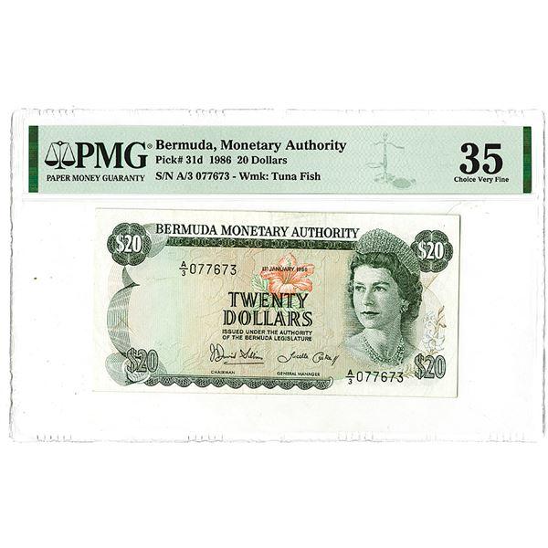 Bermuda Monetary Authority. 1986. Issued Banknote.
