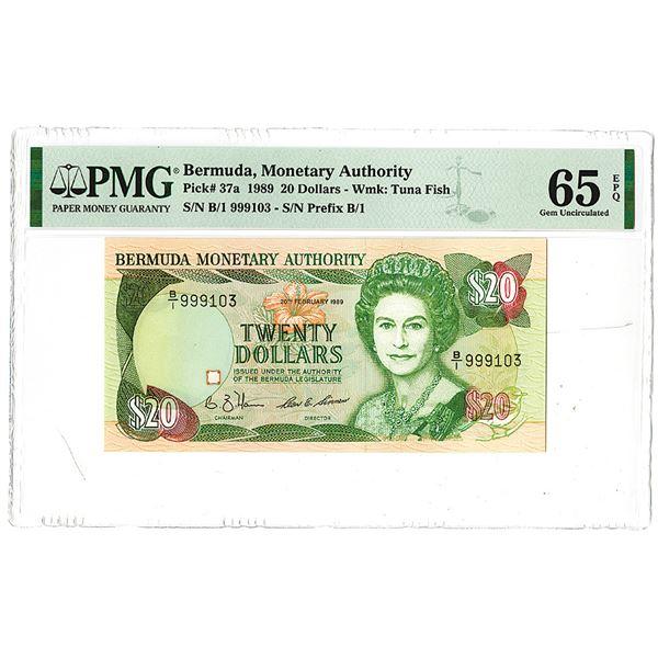 Bermuda Monetary Authority. 1989. Issued Banknote.
