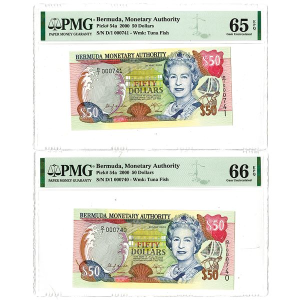 Bermuda Monetary Authority. 2000. Lot of 2 Sequential Low Serial Number Issued Notes.