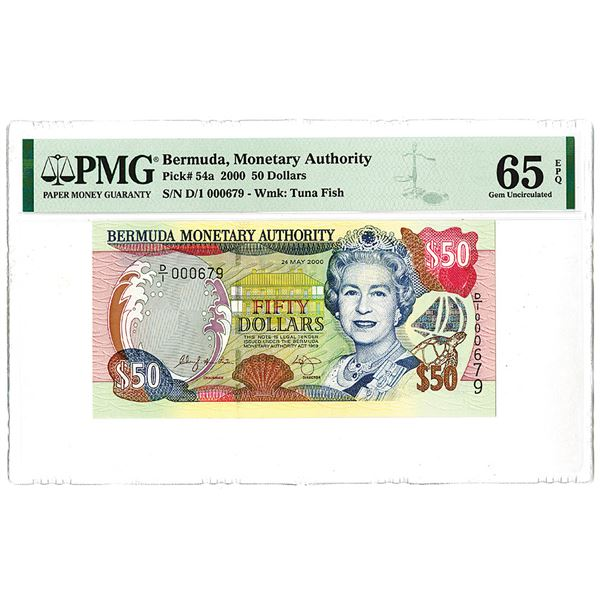 """Bermuda Monetary Authority. 2000. Low Serial Number """"000679"""" Issued Banknote."""