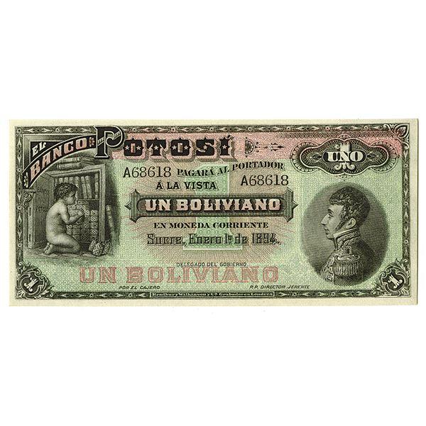 Banco Potosi. 1894. Remainder Note.
