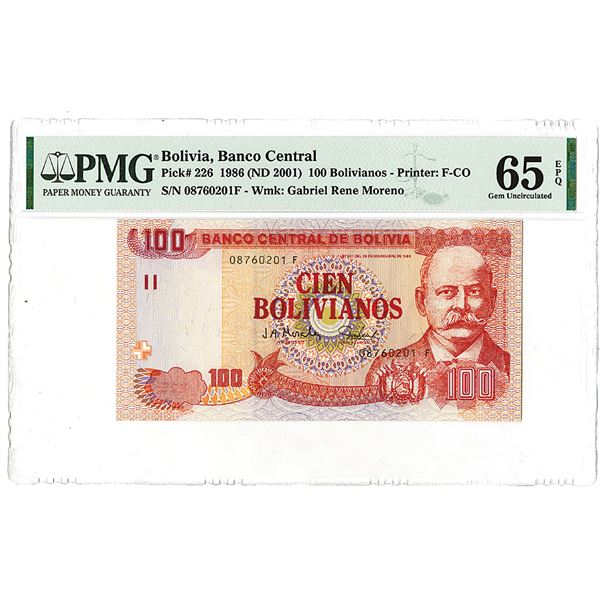 """Banco Central de Bolivia. 1986 (ND 2001). """"Top Pop"""" Issued Note."""
