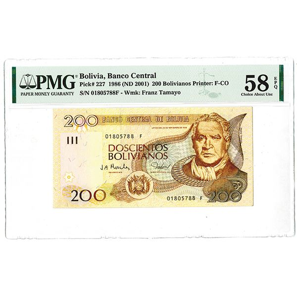 Banco Central de Bolivia. 1986 (ND 2001). Issued Note.