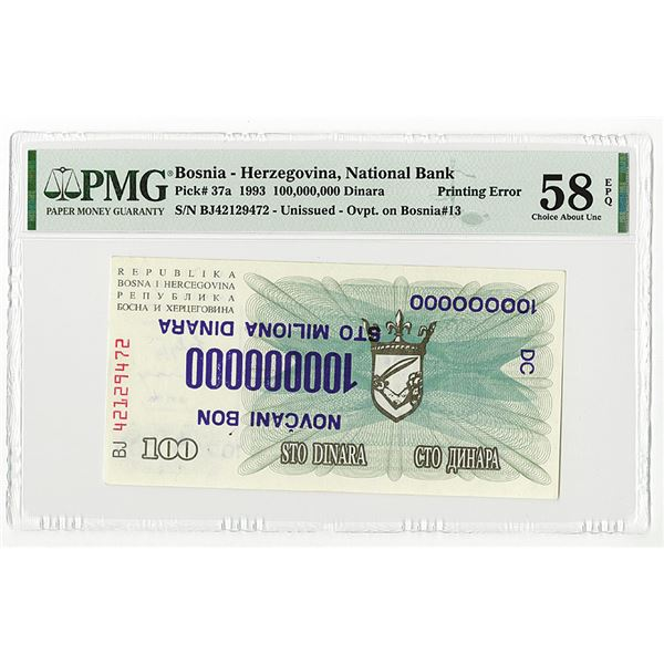 National Bank of the Republic of Bosnia & Herzegovina. 1993. Unissued Error Note With Inverted Overp