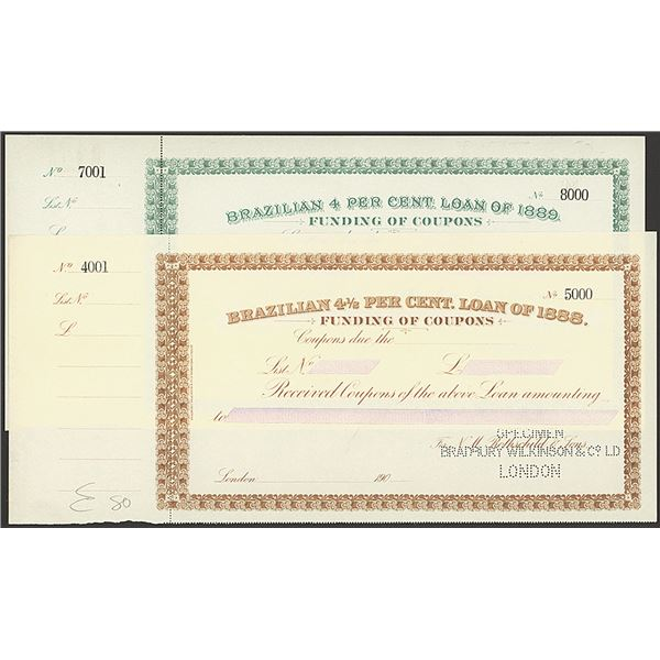 Brazilian Specimen Funding Coupons of Loans of 1888 and 1889.