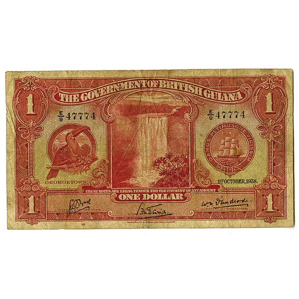 Government of British Guiana. 1938. Issued Banknote with RADAR S/N 47774.