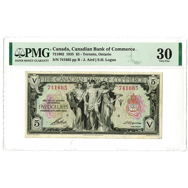 Canadian Bank of Commerce. 1935 Issue Banknote.