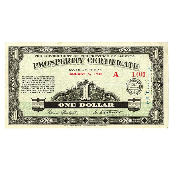 Government of the Province of Alberta, Prosperity Certificate. 1936. Issued Depression Scrip Note.