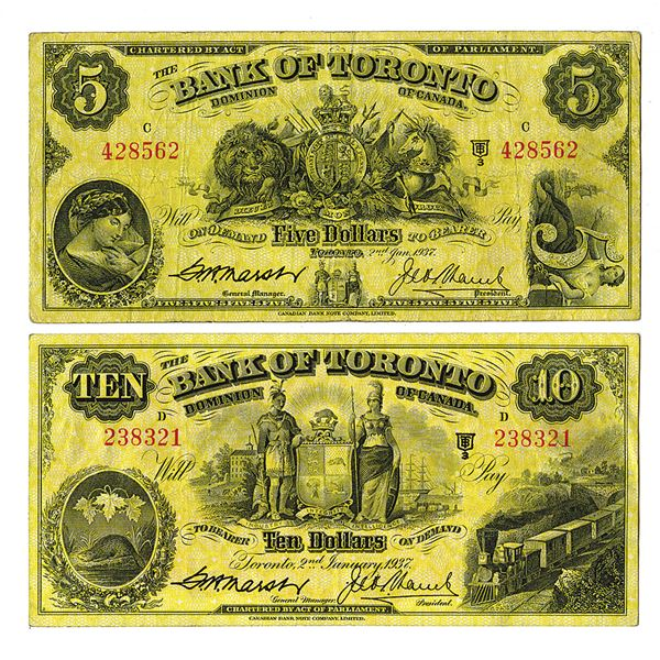 Bank of Toronto. 1937 Issue $5 and $10 Banknote Pair