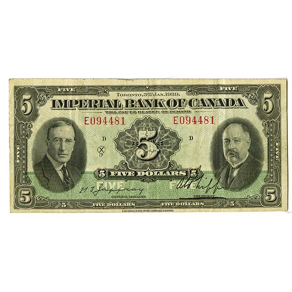 Imperial Bank of Canada. 1939. Issued Note.