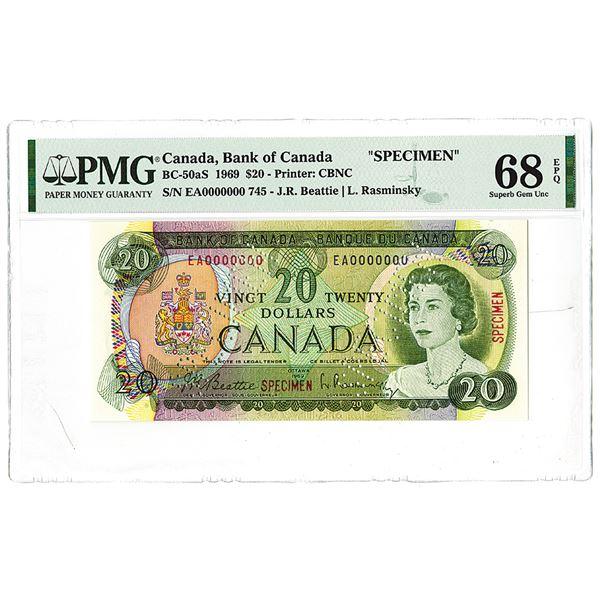 """Bank of Canada. 1969. """"Top Pop"""" Specimen Banknote."""