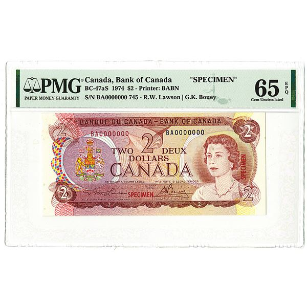 Bank of Canada. 1974. Specimen Banknote.