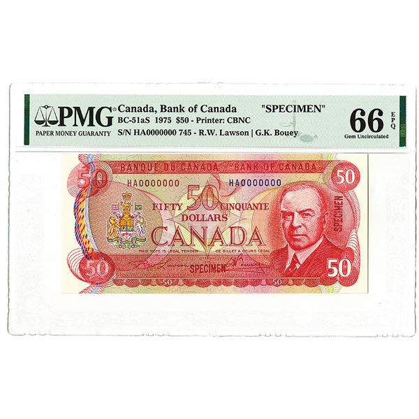 Bank of Canada. 1975. Specimen Banknote.