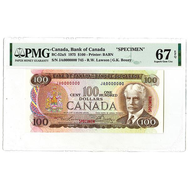 """Bank of Canada. 1975. """"Top Pop"""" Specimen Banknote."""