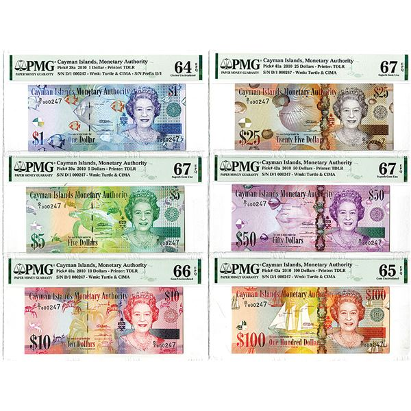 Cayman Islands Monetary Authority. 2010. Lot of 6 Issued Notes.