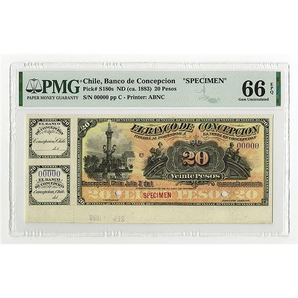 Banco De Concepcion, ND (ca.1883) Specimen Banknote.