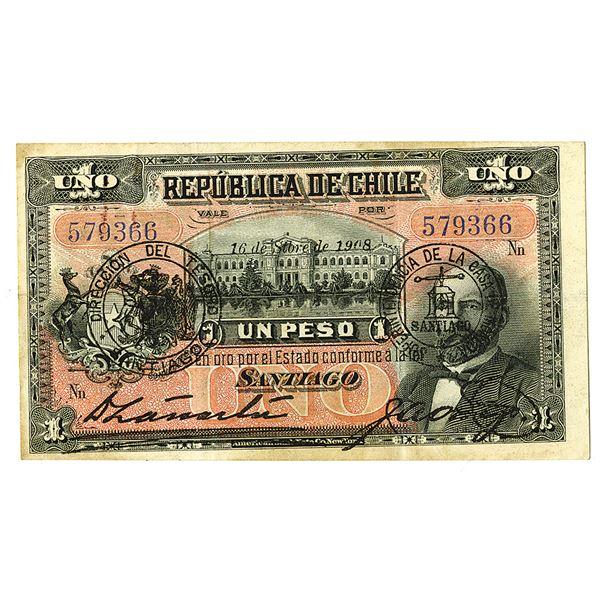 Republica de Chile. 1908. Issued Note.