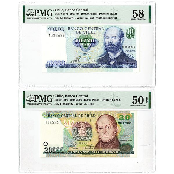 Banco Central de Chile. 1999-2002. Lot of 2 Issued Notes.