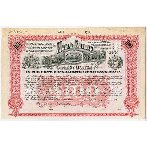 Anglo-Chilian Nitrate Railway Co. Ltd., 1896 Specimen Bond