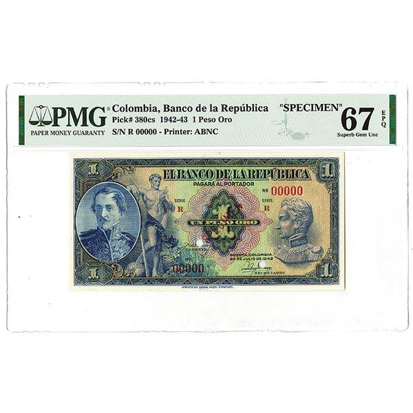 """Banco de la Republica. 1942. """"Top Pop"""" Specimen Banknote."""