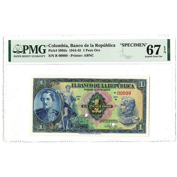 Banco de la Republica. 1944. Specimen Banknote.