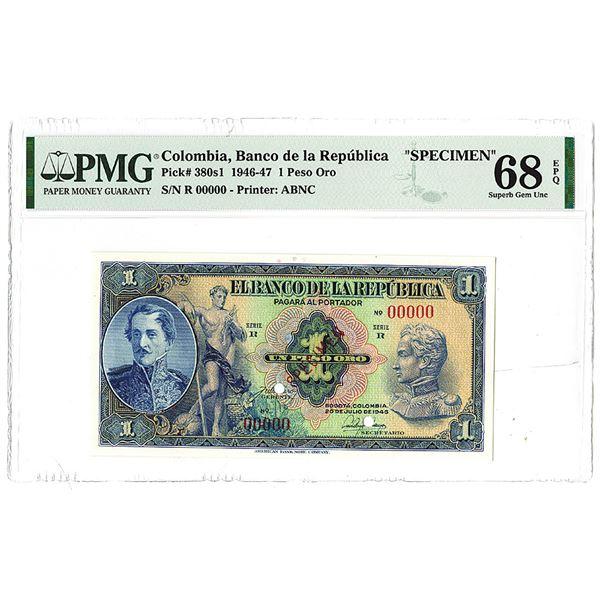 """Banco de la Republica. 1946. """"Top Pop"""" Specimen Banknote."""