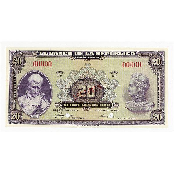Banco de la Republica. 1951. Specimen Banknote.