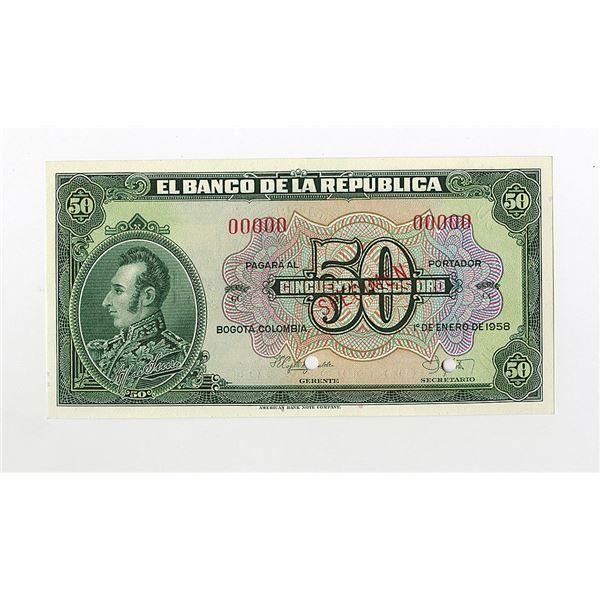 Banco de la Republica. 1958. Specimen Banknote.