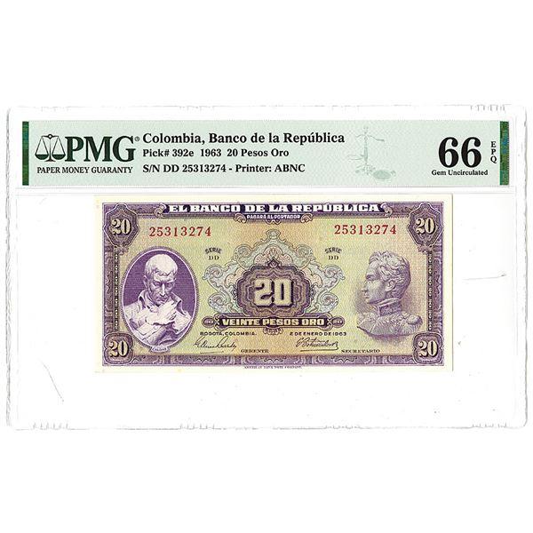 Banco de la Republica. 1963. Issued Banknote.