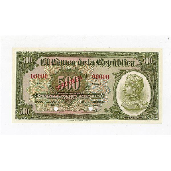 Banco de la Republica. 1964. Specimen Banknote.